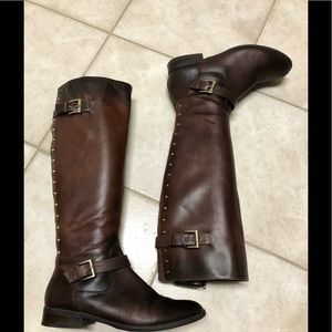 Alex Marie Boot Tall Genuine Leather Saddle Brown